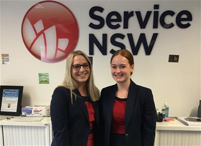 Customer Engagement trainees Peita Bunt and Marnie Davis commenced work with host employer Service NSW at the Goulburn Service Centre last November