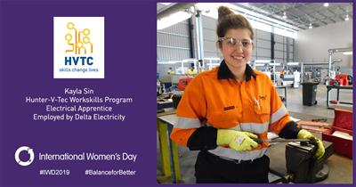 Delta Electricity apprentice Kayla Sin getting work ready as part of HVTC