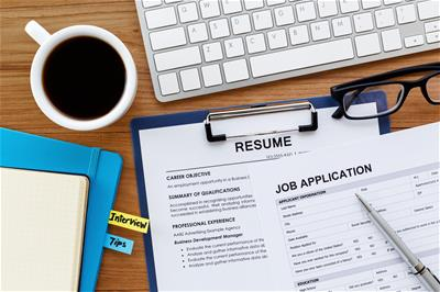 Illustration of a paper resume and job application form