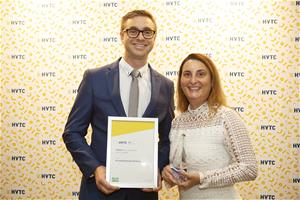 Dane Townsend and Bruna Spinelli accepting HVTC