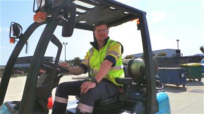 HVTC apprentice Jordan Nicholson learning to drive a forklift at the Rutherford Skills Centre earlier this week as part of work-readiness training for host employer Singleton Council