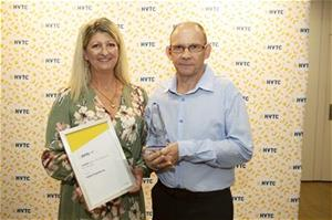 Sue Kerry and Glenn Perry accepting the HVTC Small Host Employer of the Year Award